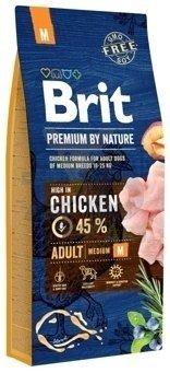 BRIT Premium By Nature Adult M 15kg + Let's Bite Chicken Fillet 80g ZDARMA!!!!!