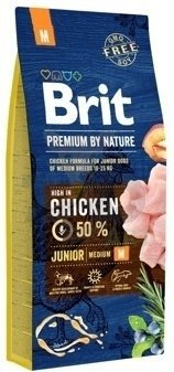 BRIT Premium By Nature Junior M 15kg + Let's Bite Chicken Fillet 80g ZDARMA!!!!!